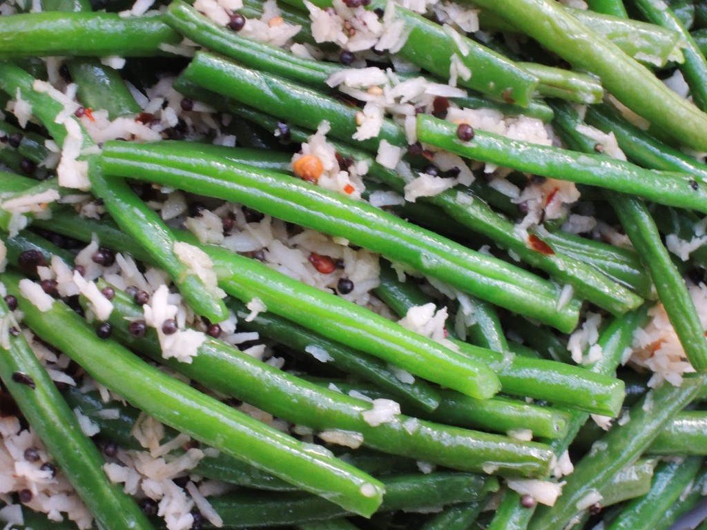 Vegetables, beans, French, blanched, with coconut 2