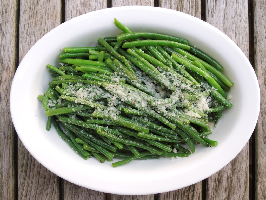 Vegetables, beans, French, blanched, with Parmesan 1