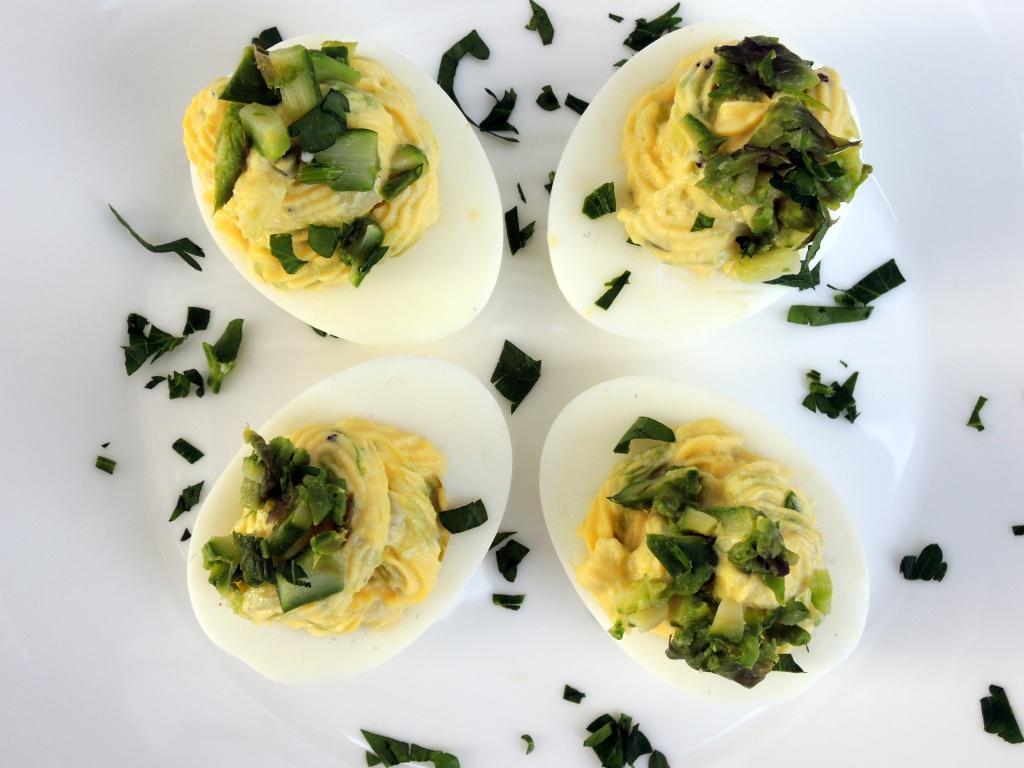 Appetizers, eggs, asparagus stuffed eggs 2