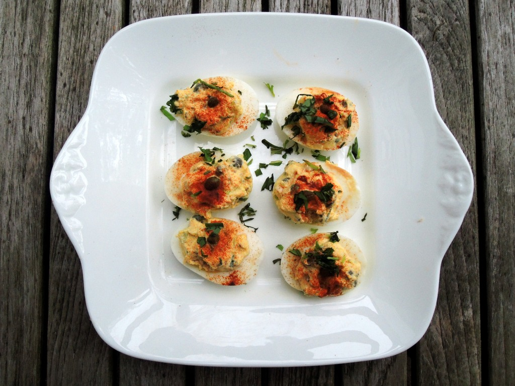 Appetizers, eggs, caper and tarragon stuffed eggs 1