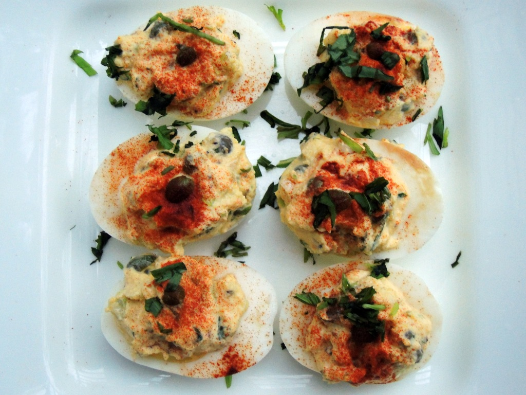 Appetizers, eggs, caper and tarragon stuffed eggs 2