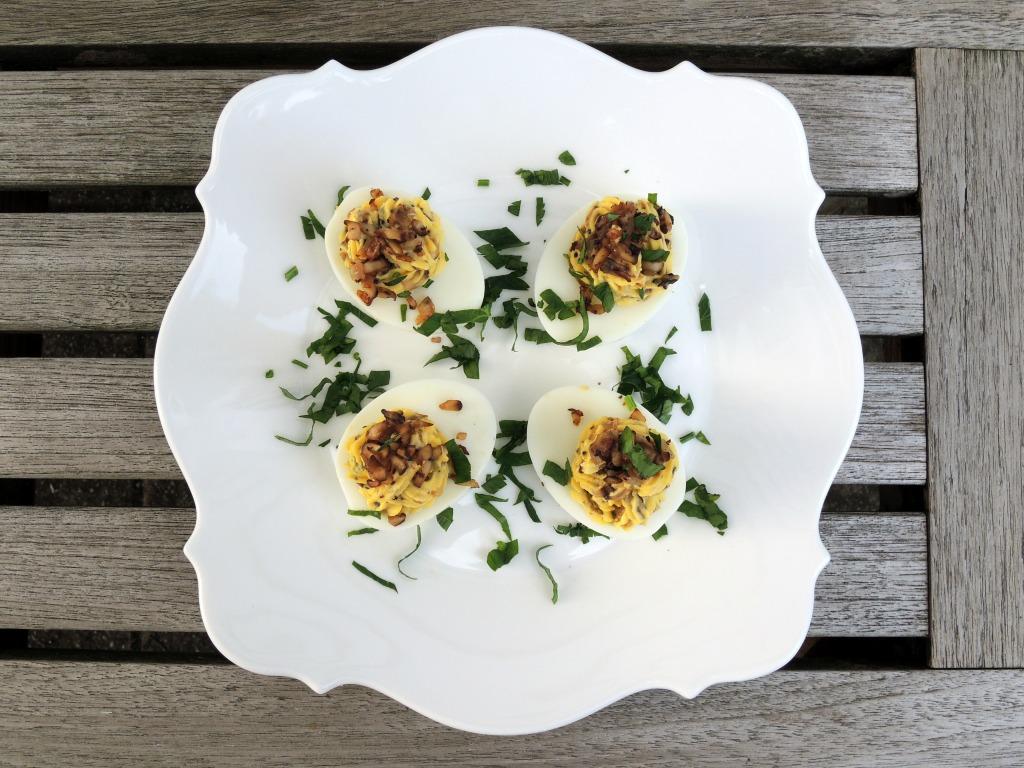 Appetizers, eggs, mushroom stuffed eggs 1