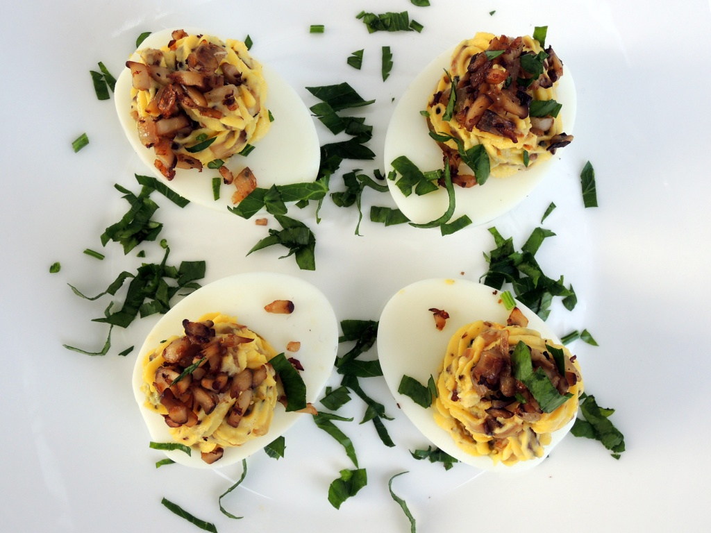 Appetizers, eggs, mushroom stuffed eggs 2