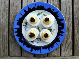 Appetizers, eggs, oeufs farcis au caviar 1