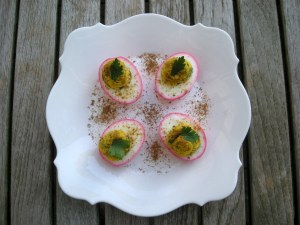 Appetizers, eggs, pickled beet and caraway stuffed eggs 1