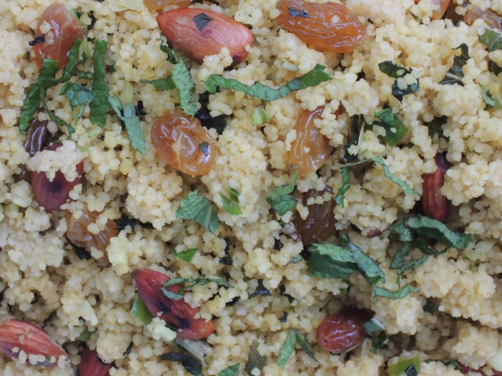 Pasta, couscous, curried couscous with almonds, raisins and mint 2