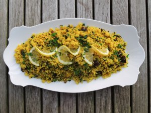 Pasta, couscous with preserved lemon and black olives 1