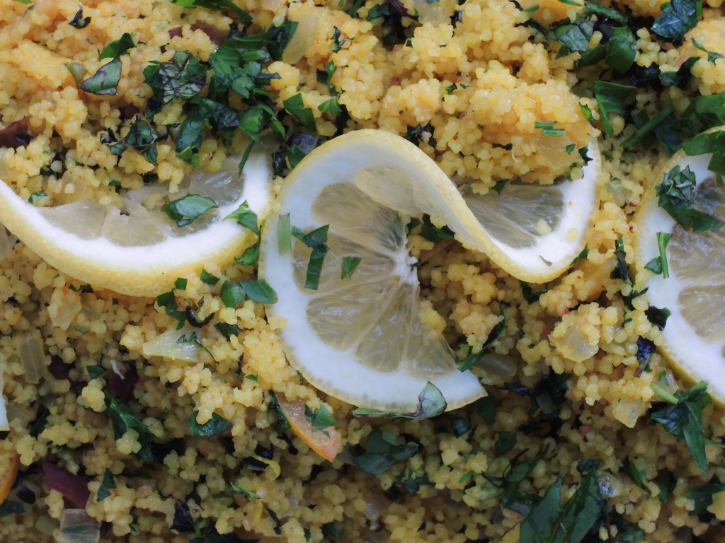 Pasta, couscous with preserved lemon and black olives 2
