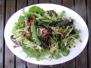 Salads, green, Southern wilted green salad 1