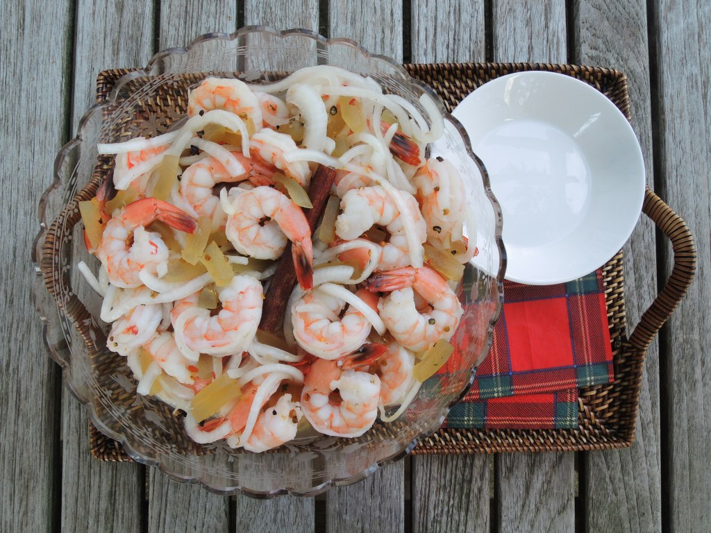 Appetizers, shrimp, pickled, Nana's pickled shrimp and watermelon rind 2