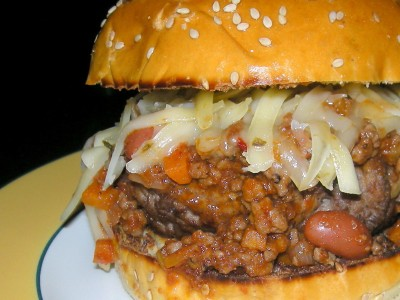 Burgers, beef burgers with chili and pepper jack cheese (San Antonio burger) 2