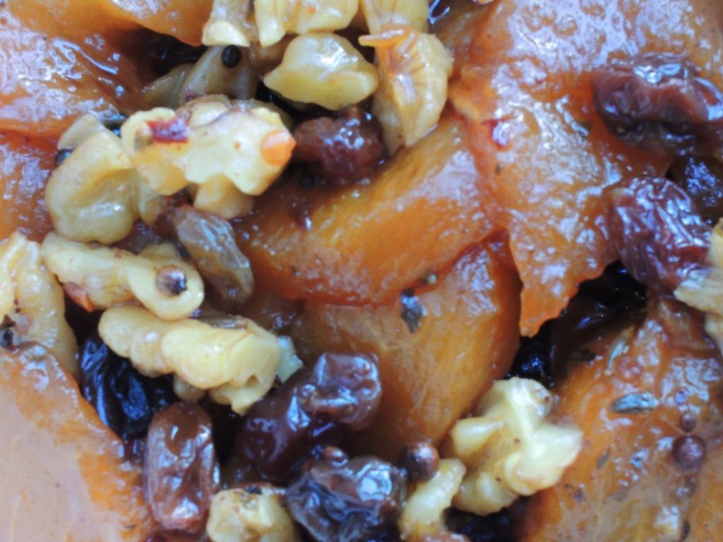 Condiments, chutneys, peach chutney with walnuts 2