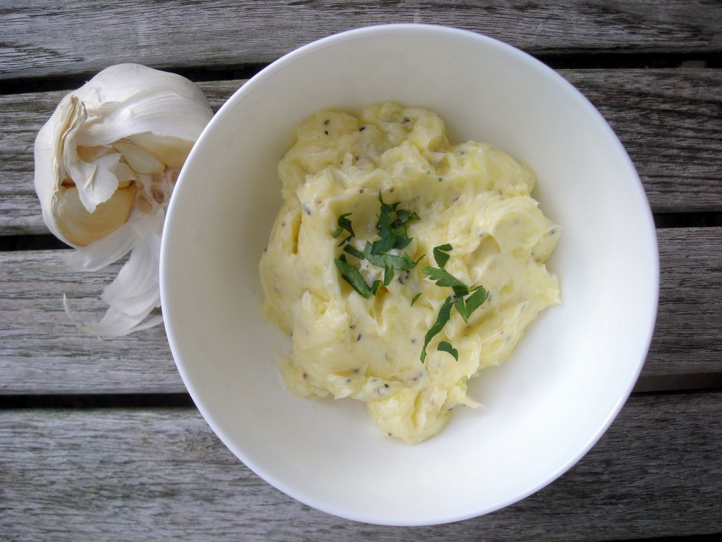 Condiments, composed butters, garlic butter