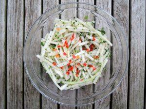 Salads, slaw, Asian pear 1
