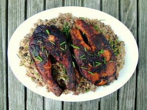 Fish, salmon, Cajun blackened salmon steaks 1