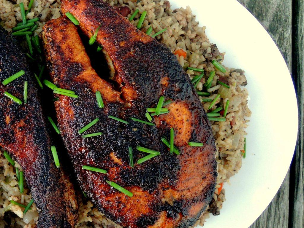 Fish, salmon, Cajun blackened salmon steaks 2