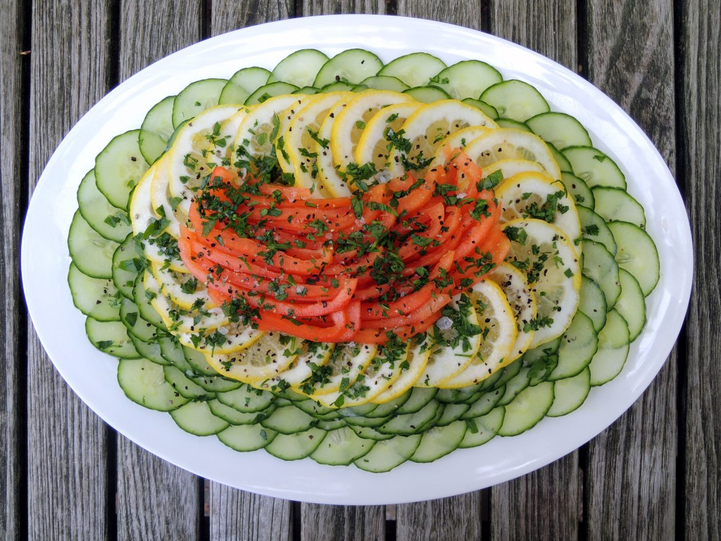 Salads, cucumber, insalata di limone, cetriolo e peperone (Italian cucumber, lemon and red bell pepper salad) 1