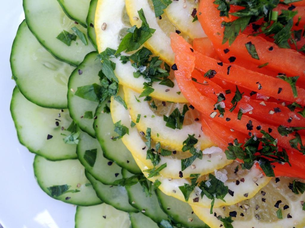 Salads, cucumber, insalata di limone, cetriolo e peperone (Italian cucumber, lemon and red bell pepper salad) 2