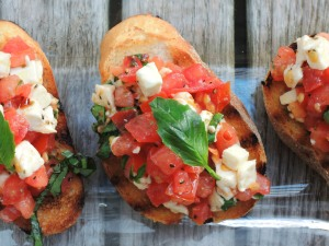 Appetizers, toasts, basil, mozzarella and tomato crostini 2