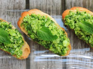Appetizers, toasts, fava bean crostini 2
