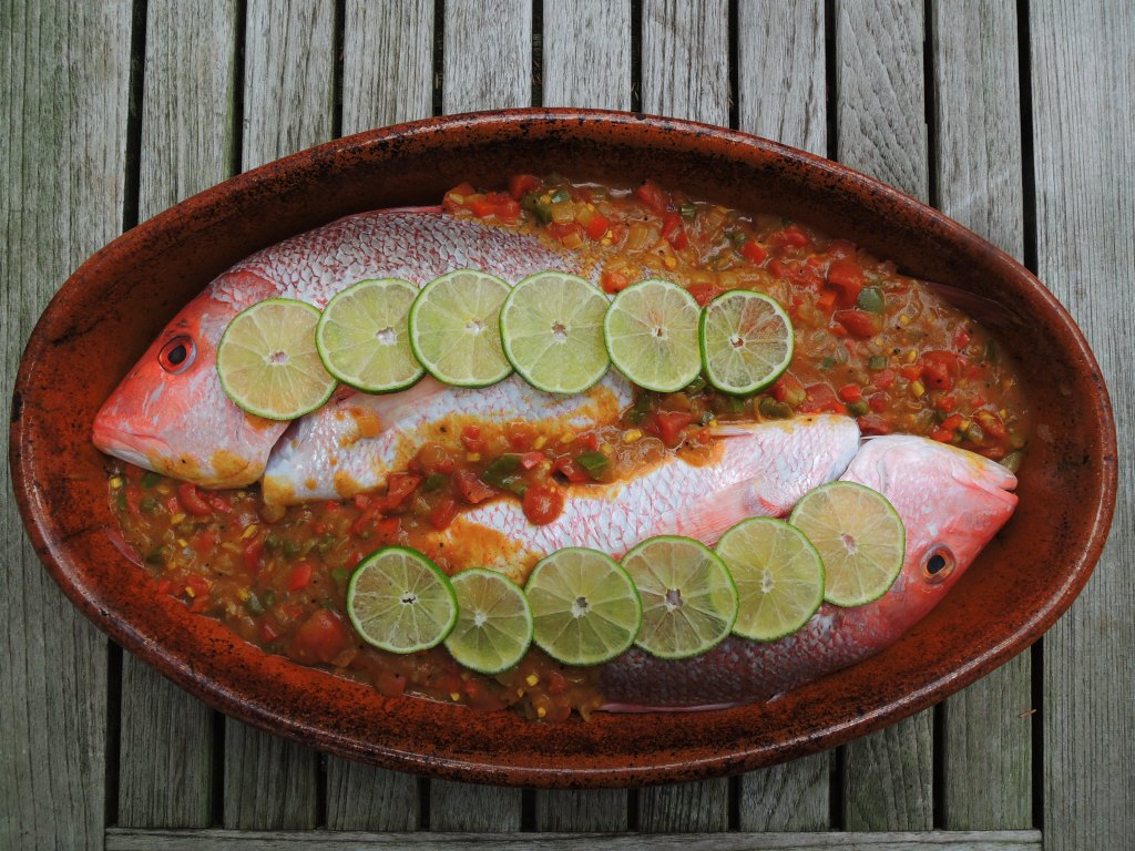 Fish, red snapper, baked red snapper with Caribbean red curry sauce 1