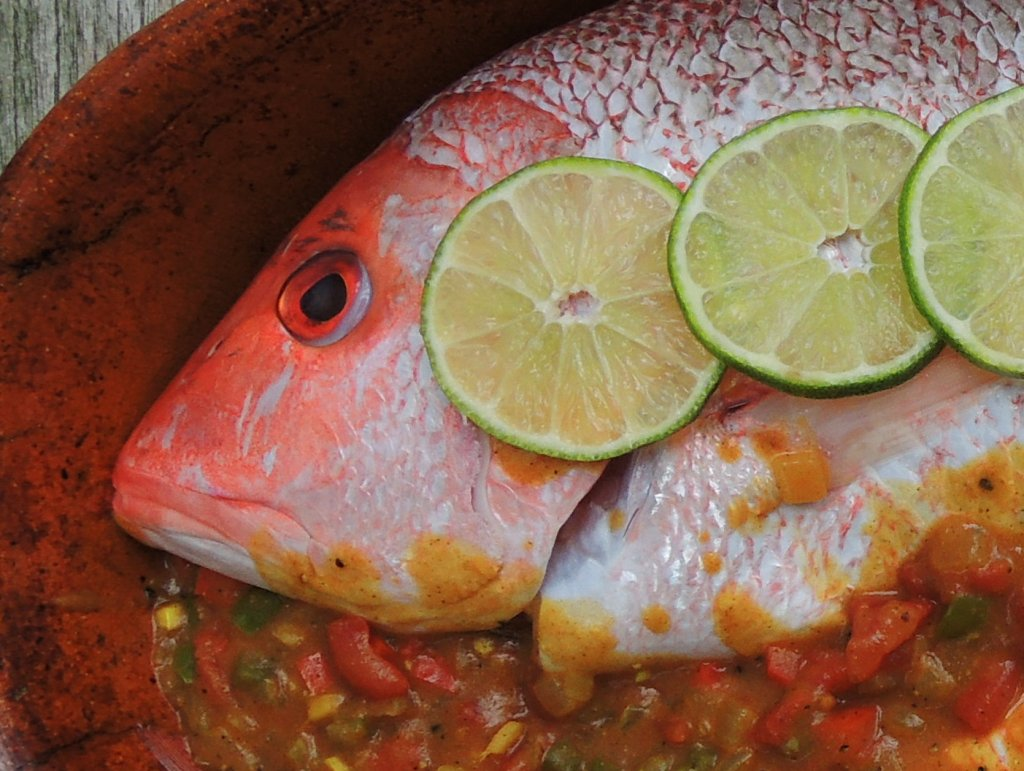 Fish, red snapper, baked red snapper with Caribbean red curry sauce 2