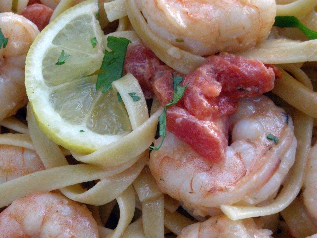 Pasta, fettuccine with shrimp and creamy tomato sauce 2