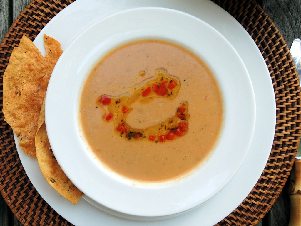 Soups, bean, red lentil soup with spiced oil and pappadams 1