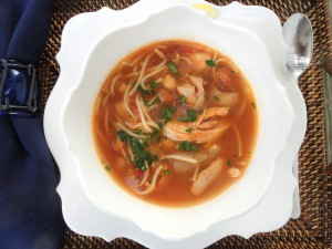 Soups, chicken, Moroccan chicken soup with chickpeas and vermicelli 1