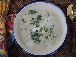 Soups, potato, potage parmentier  (French leek and potato soup) 2