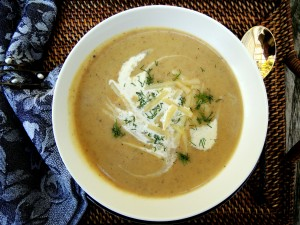 Soups, potato soup with cabbage, dill and gruyere 2