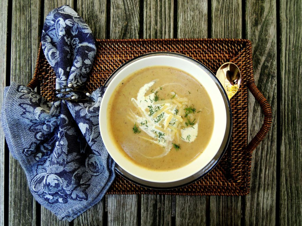 Soups, potato soup with cabbage, dill and gruyere (Swiss) 1