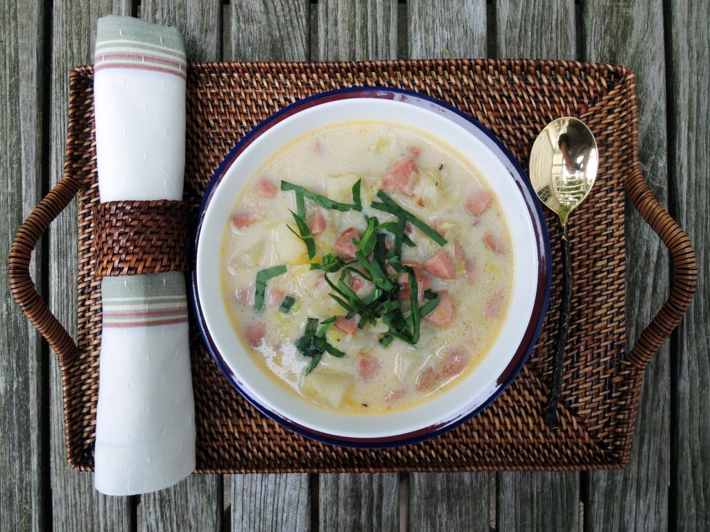 Soups, potato soup with kielbasa and spinach 1