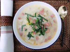 Soups, potato soup with kielbasa and spinach 2