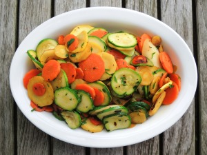 Vegetables, zucchini sauteed with root vegetables 1