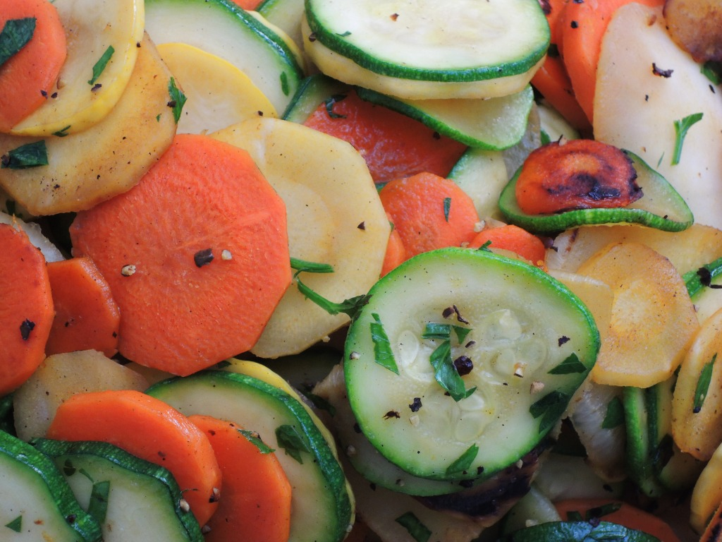 Vegetables, zucchini sauteed with root vegetables 2
