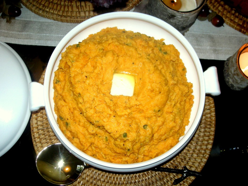 Vegetables, sweet potatoes, mashed sweet potatoes with sage 1