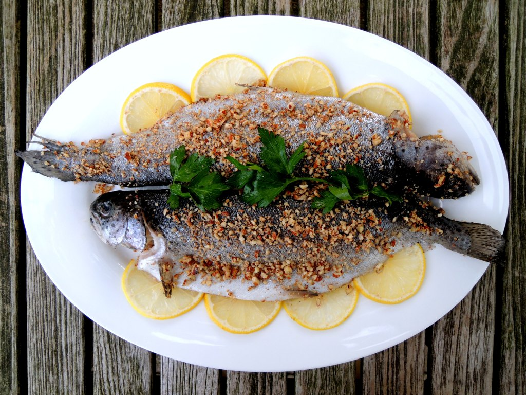 Fish, trout, sauteed with hazelnut crust 1