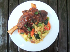 Lamb, lamb shanks braised in chicken stock with merguez spices 2
