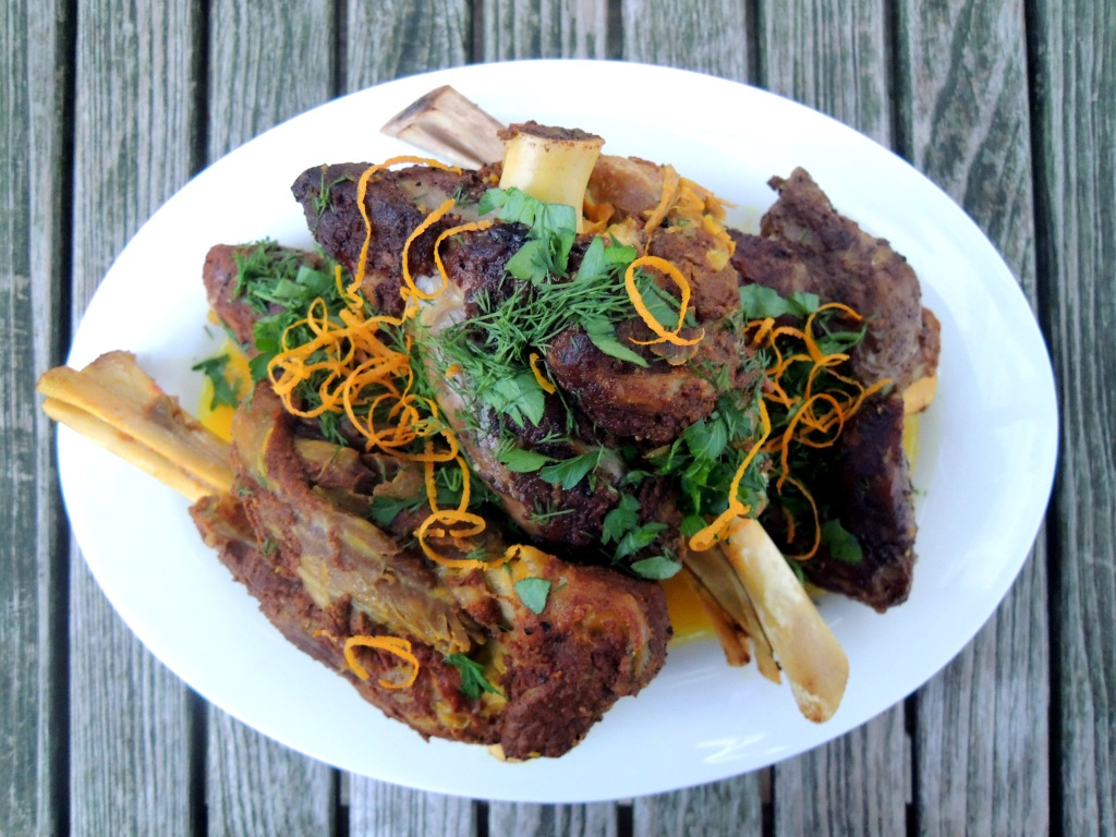 Lamb, lamb shanks braised in rose water, saffron and Persian spices 1