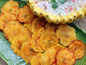 Appetizers, chips, crackers and other dunkers, tostones (fried green plantains) 1