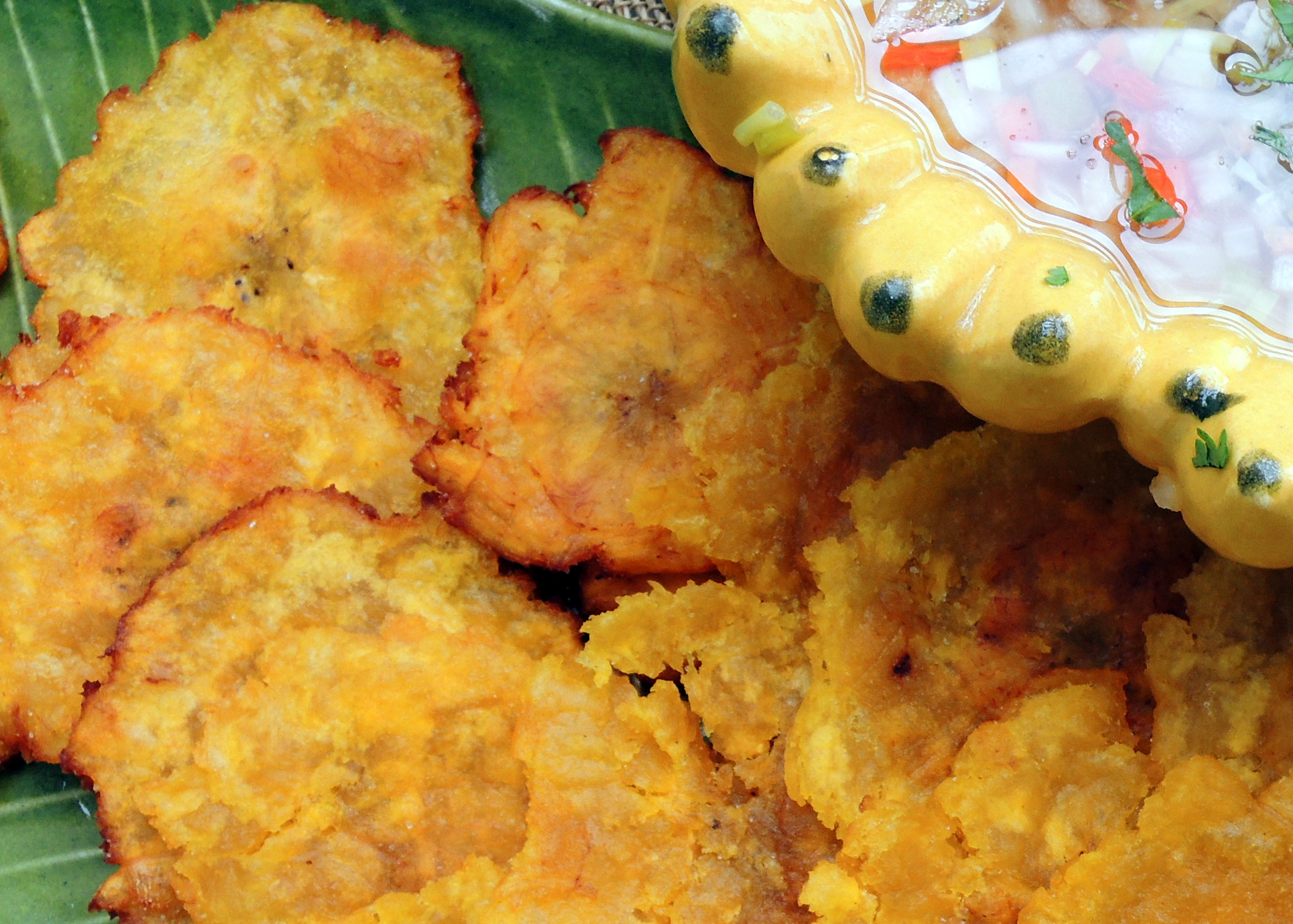 ... chips, crackers and other dunkers, tostones (fried green plantains) 2