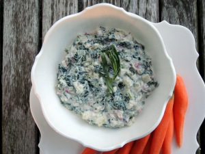 Appetizers, dips and spreads, spinach dip with baby carrots 2