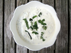 Condiments, yogurt, plain raita with cumin and mustard seeds 1
