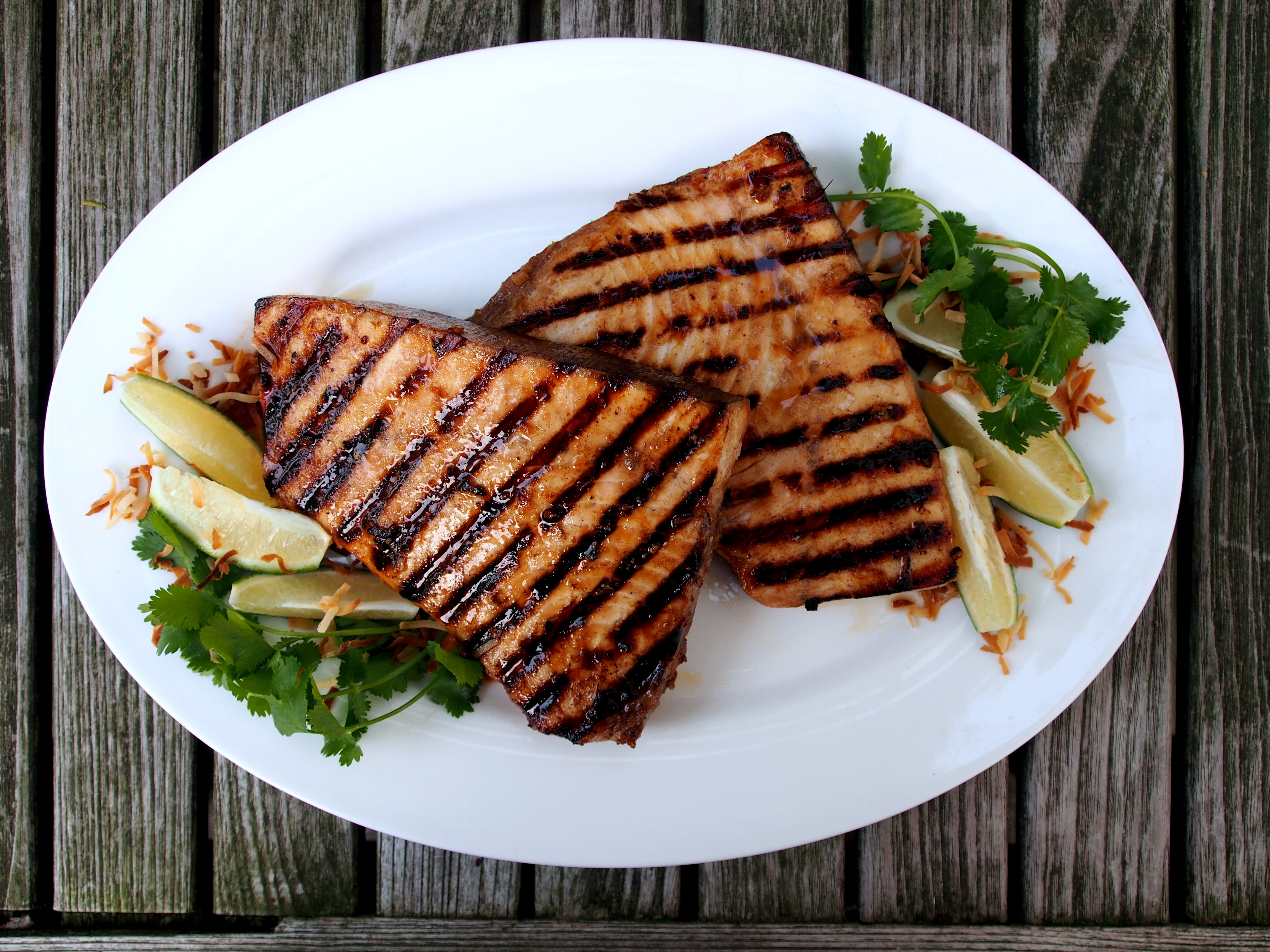 Indonesian pan grilled swordfish steaks the weathered for Pan grilled fish