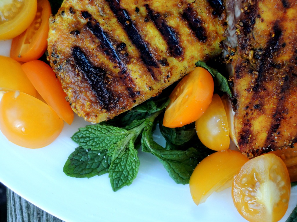 Fish, swordfish, pan-grilled swordfish steaks with Indian spices and yellow tomatoes 2
