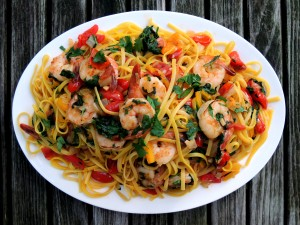 Pasta, linguine with saffron, shrimp and vegetables 1