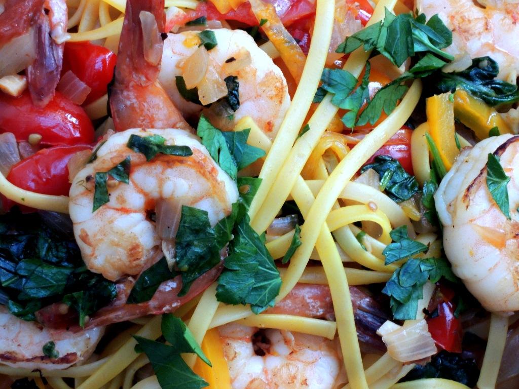 Pasta, linguine with saffron, shrimp and vegetables 2