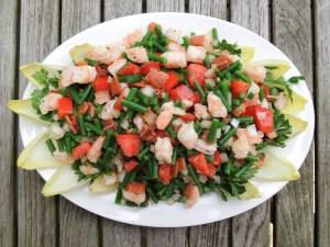 Salads, chopped, bacon, green bean and shrimp chopped salad 1