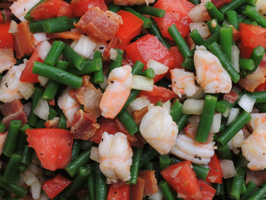 Salads, chopped, bacon, green bean and shrimp chopped salad 2